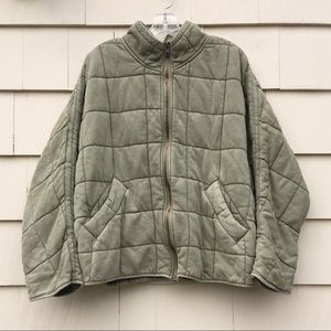 New Free People Quilted Dolman Jacket Green M
